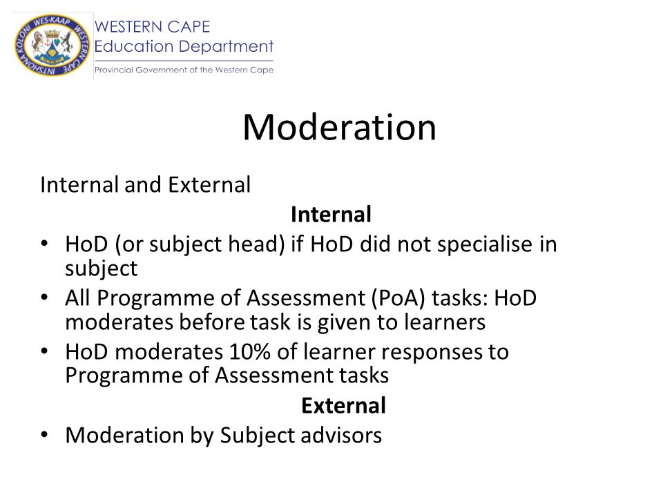 Moderation Internal and External Internal