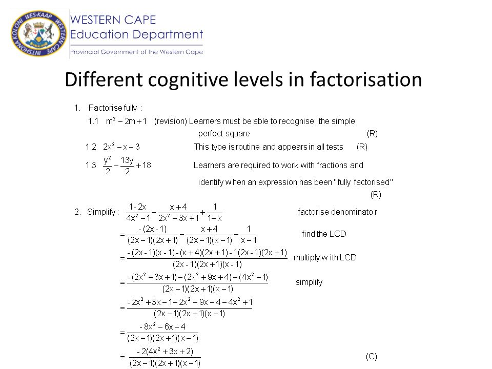 Different cognitive levels in factorisation