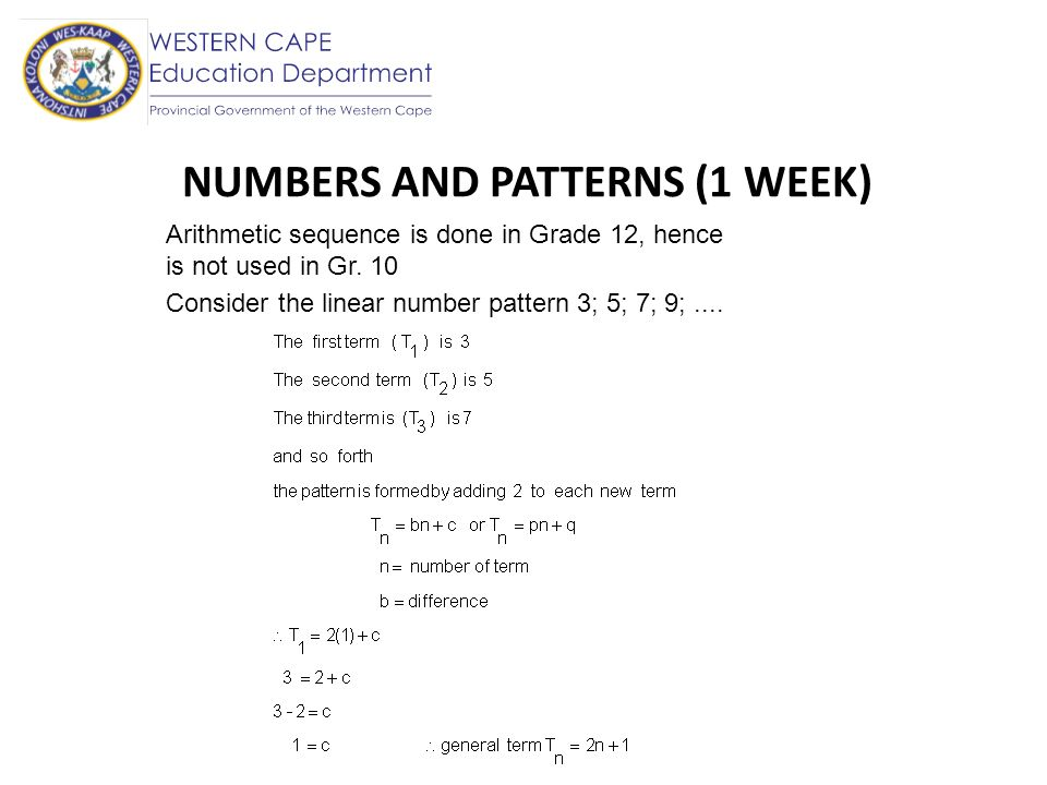 NUMBERS AND PATTERNS (1 WEEK)