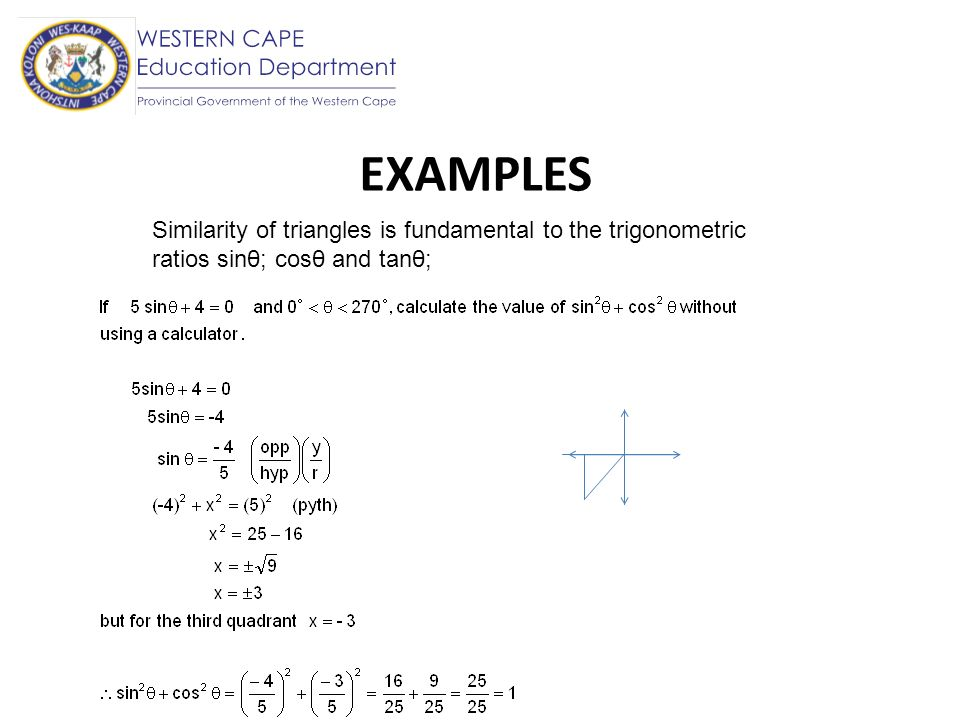 EXAMPLES Similarity of triangles is fundamental to the trigonometric ratios sinθ; cosθ and tanθ;