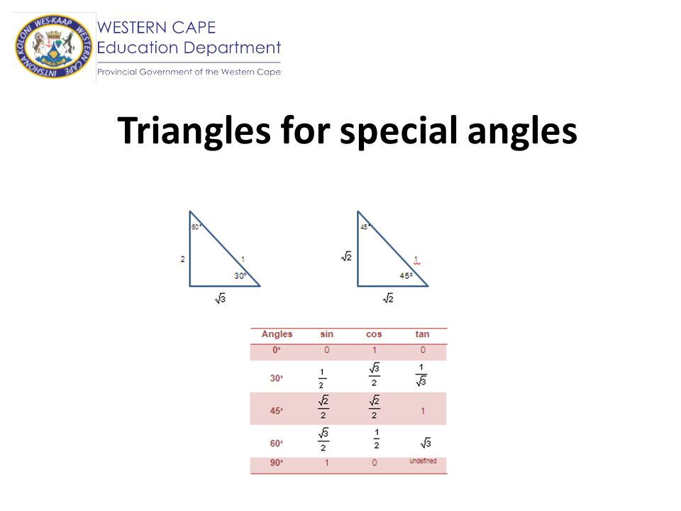 Triangles for special angles