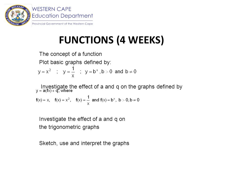 FUNCTIONS (4 WEEKS) The concept of a function