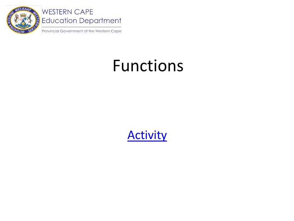 Functions Activity