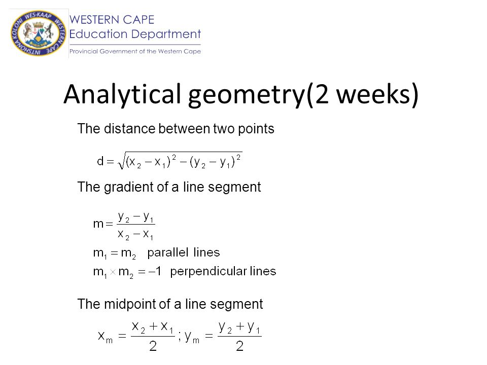 Analytical geometry(2 weeks)