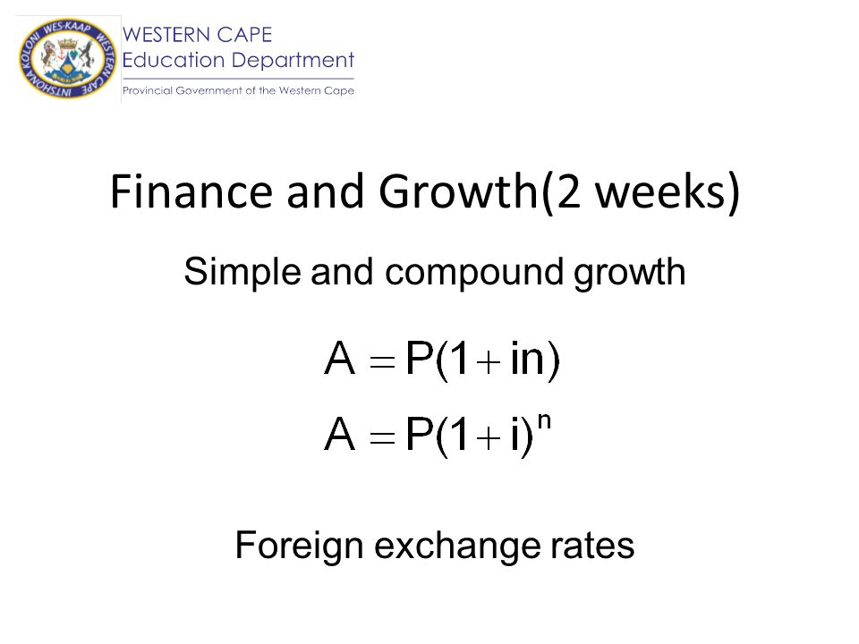 Finance and Growth(2 weeks)