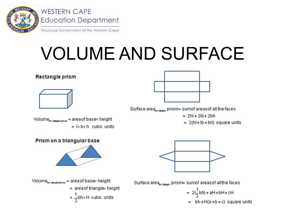 VOLUME AND SURFACE AREA