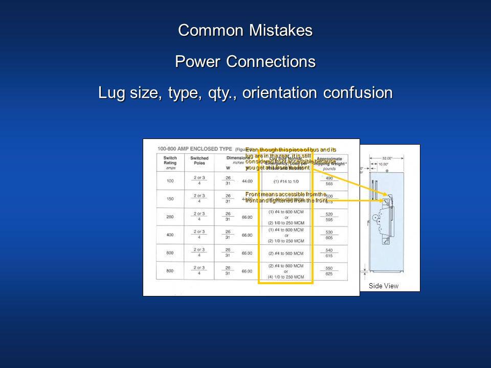Lug size, type, qty., orientation confusion