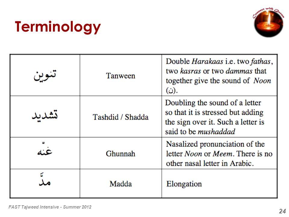 Terminology FAST Tajweed Intensive - Summer 2012