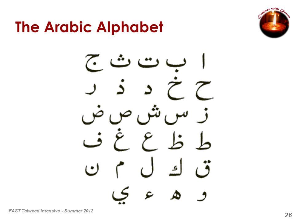 The Arabic Alphabet FAST Tajweed Intensive - Summer 2012