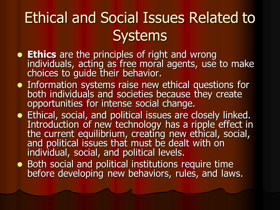 Ethical and Social Issues Related to Systems
