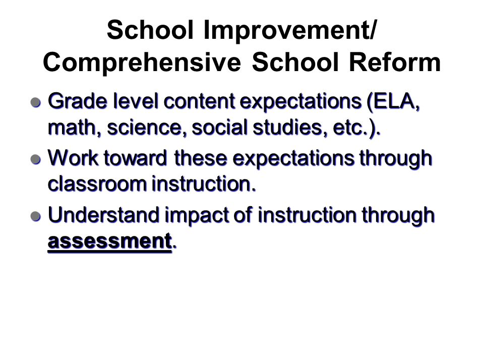 School Improvement/ Comprehensive School Reform