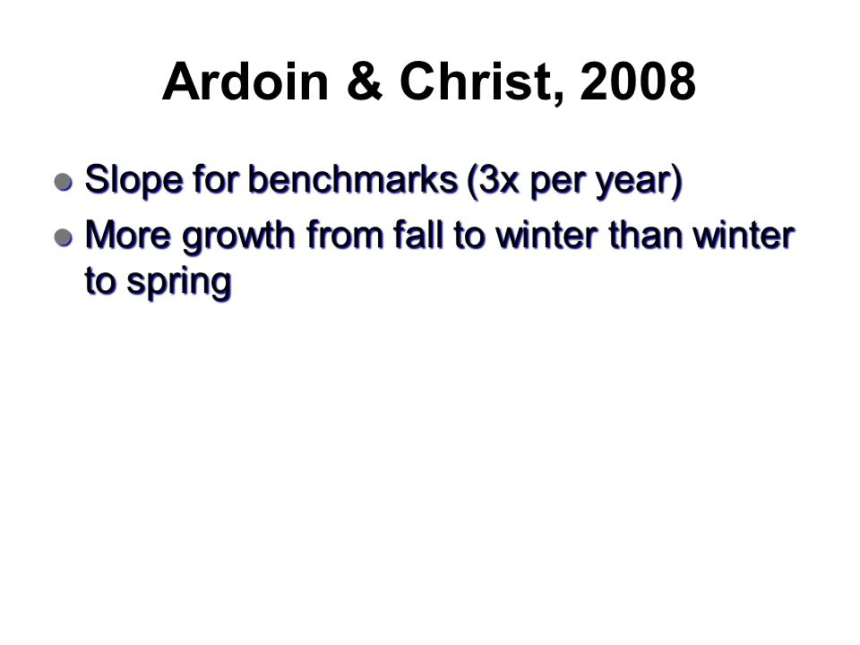 Ardoin & Christ, 2008 Slope for benchmarks (3x per year)
