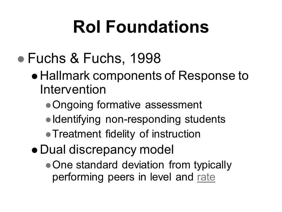 RoI Foundations Fuchs & Fuchs, 1998
