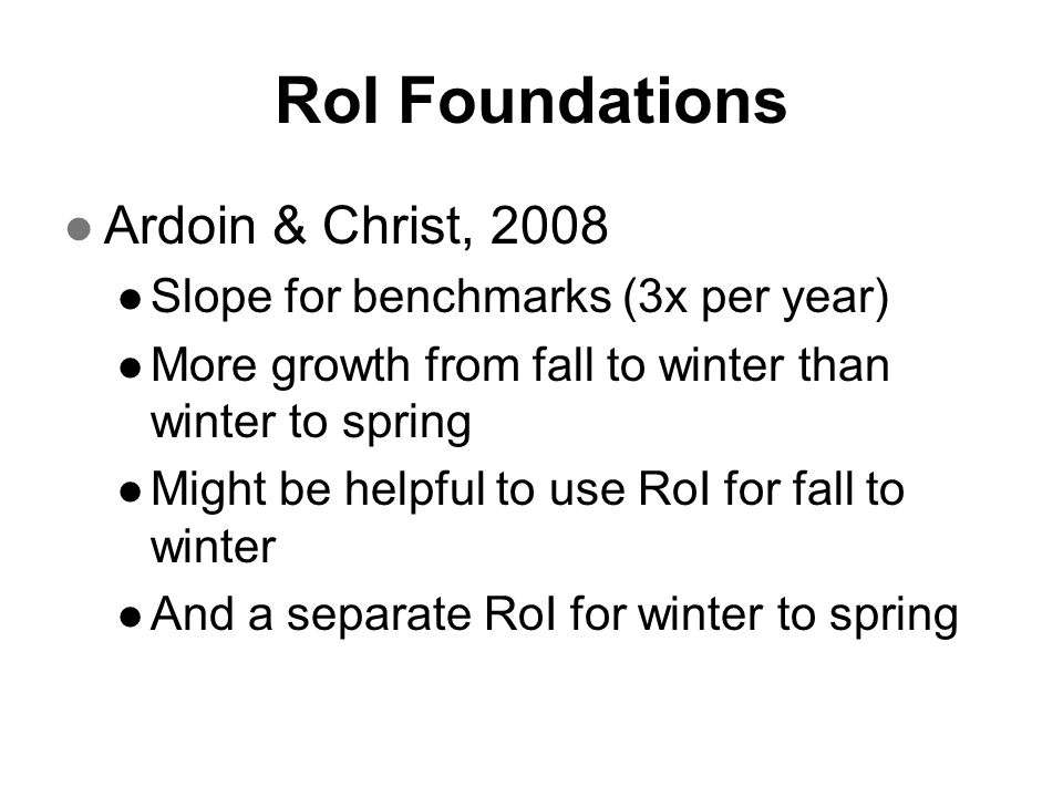 RoI Foundations Ardoin & Christ, 2008