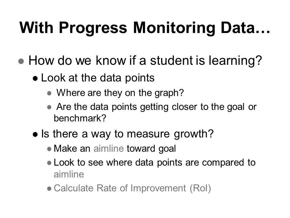 With Progress Monitoring Data…