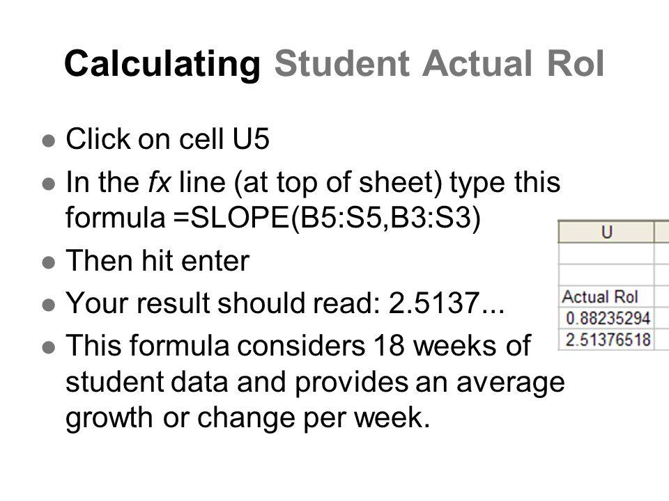 Calculating Student Actual RoI