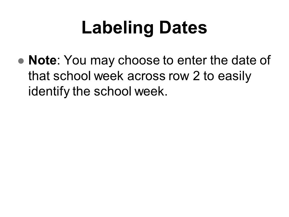 Labeling Dates Note: You may choose to enter the date of that school week across row 2 to easily identify the school week.