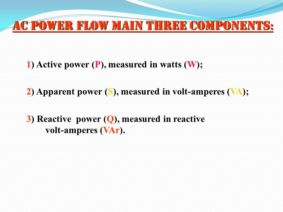 AC power flow main three components:
