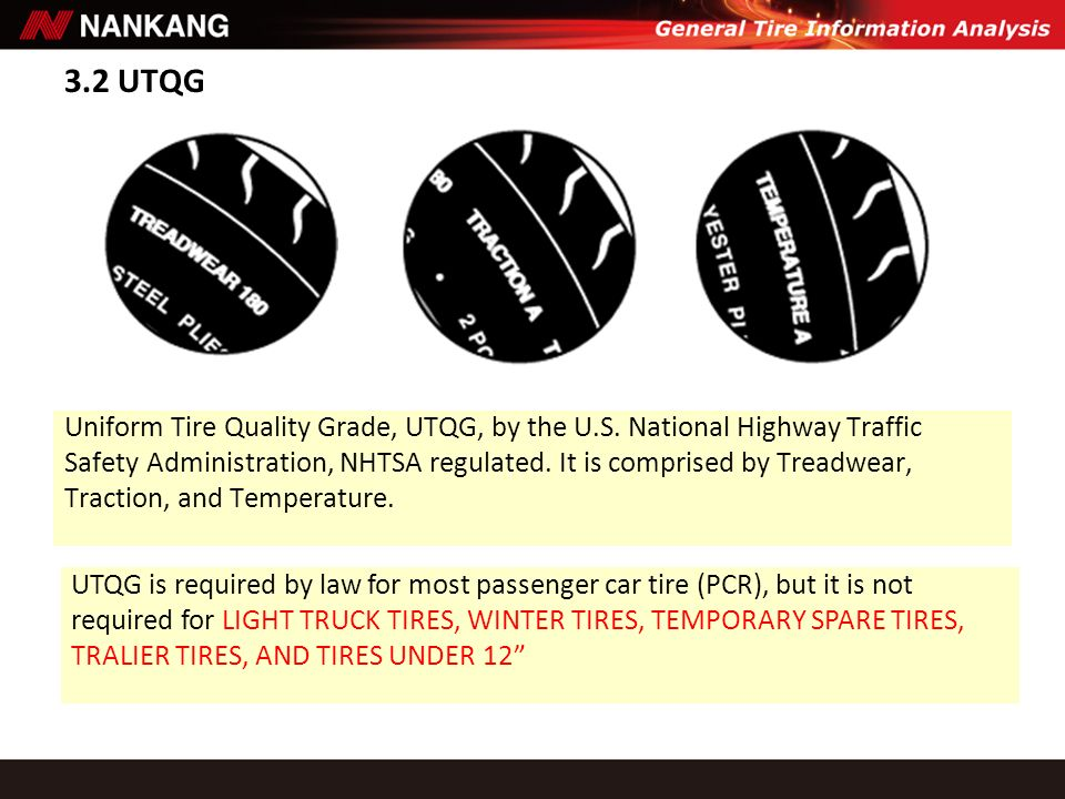 3.2 UTQG Uniform Tire Quality Grade, UTQG, by the U.S. National Highway Traffic.