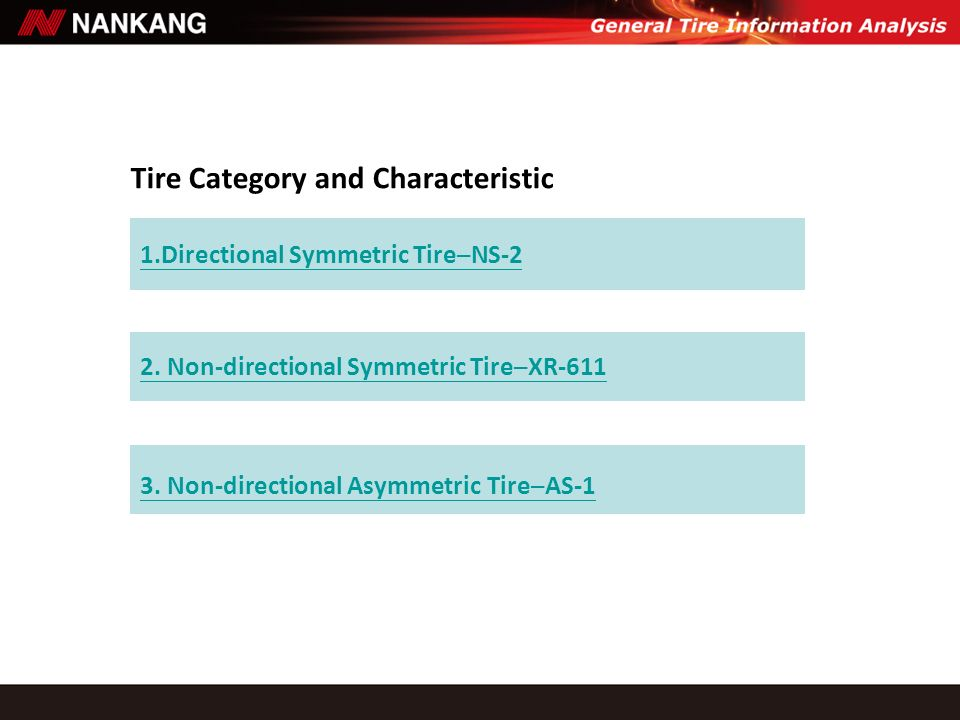 Tire Category and Characteristic