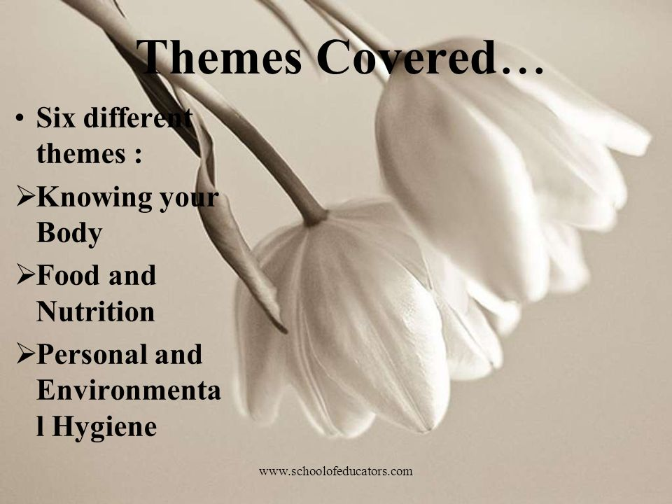 Themes Covered… Six different themes : Knowing your Body