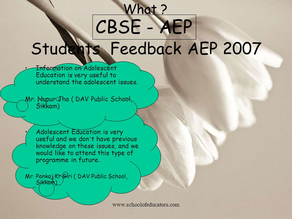 CBSE - AEP Students Feedback AEP 2007 What