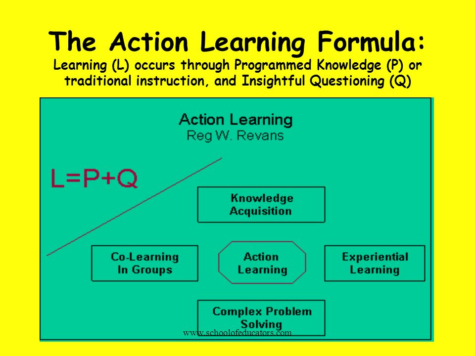 The Action Learning Formula: Learning (L) occurs through Programmed Knowledge (P) or traditional instruction, and Insightful Questioning (Q)
