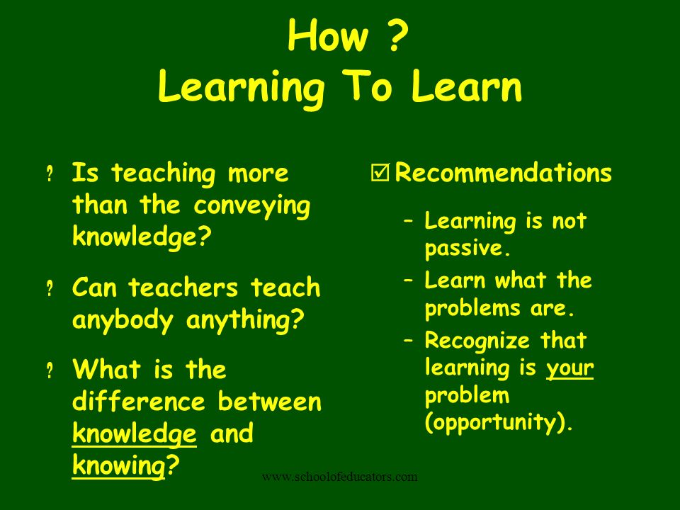 How Learning To Learn Is teaching more than the conveying knowledge