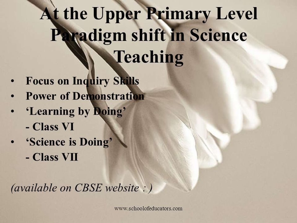 At the Upper Primary Level Paradigm shift in Science Teaching