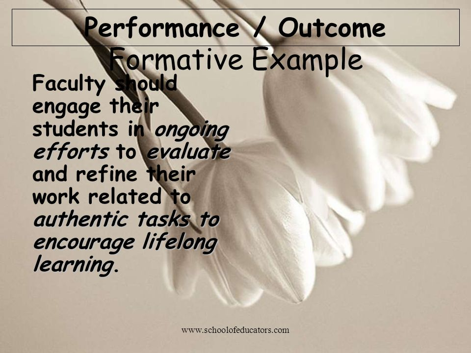 Formative Example Performance / Outcome