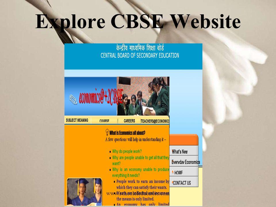 Explore CBSE Website www.schoolofeducators.com