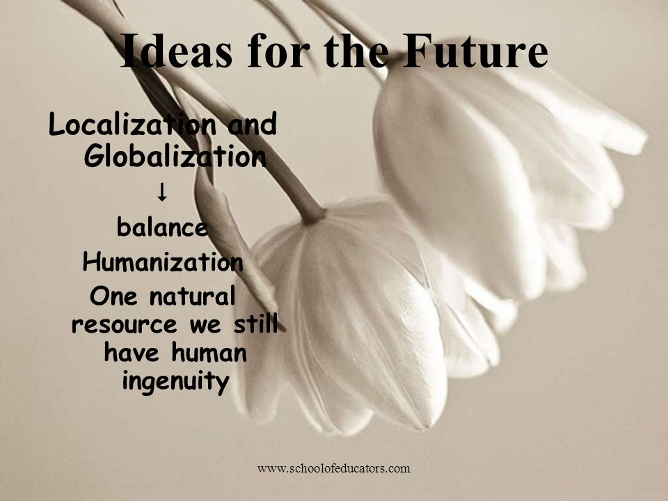 Ideas for the Future Localization and Globalization  balance