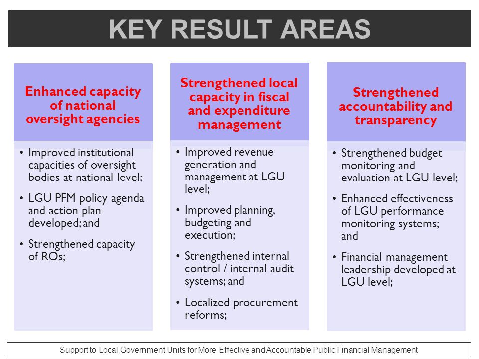KEY RESULT AREAS Enhanced capacity of national oversight agencies. Improved institutional capacities of oversight bodies at national level;