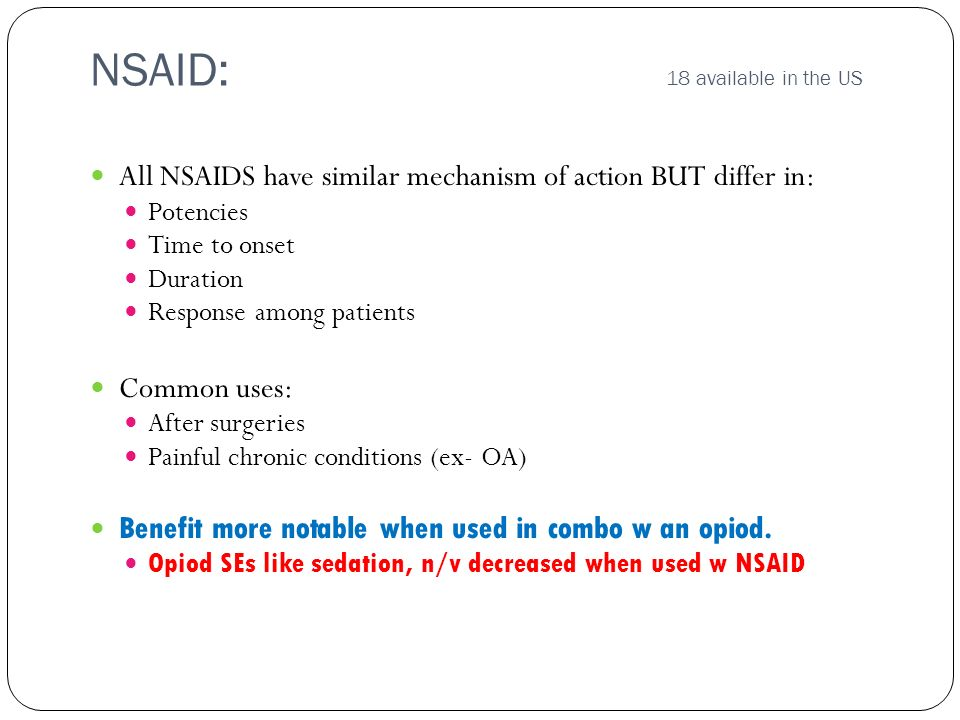 NSAID: 18 available in the US