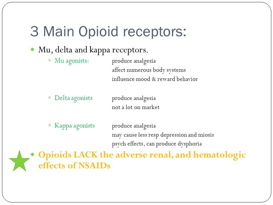 3 Main Opioid receptors: