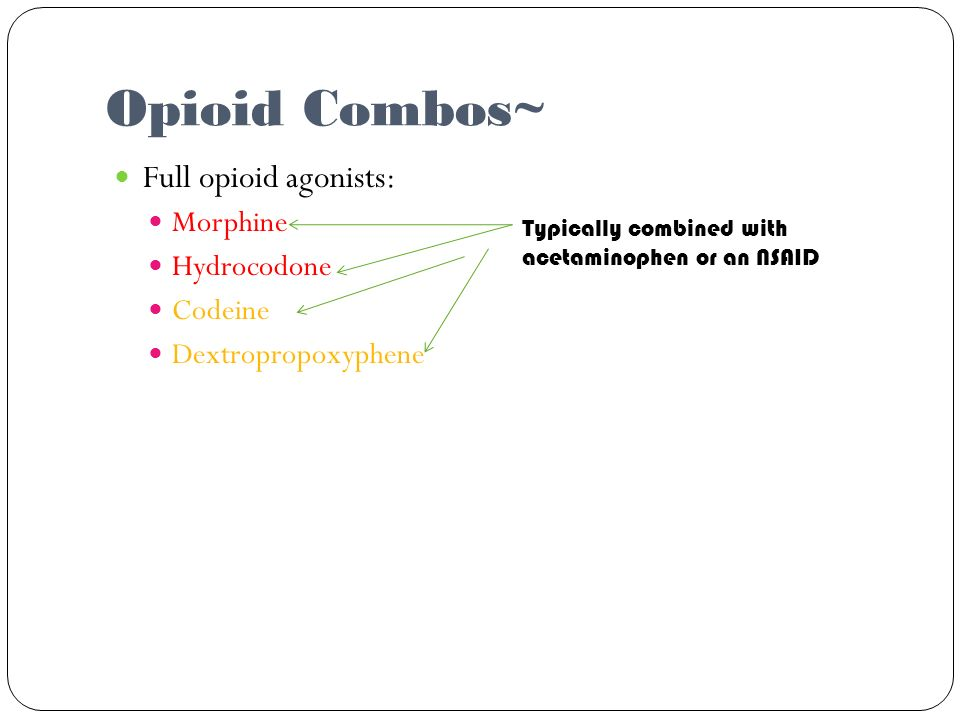 Opioid Combos~ Full opioid agonists: Morphine Hydrocodone Codeine