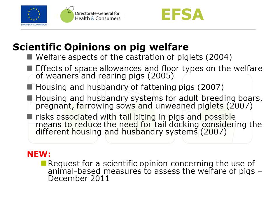 EFSA Scientific Opinions on pig welfare