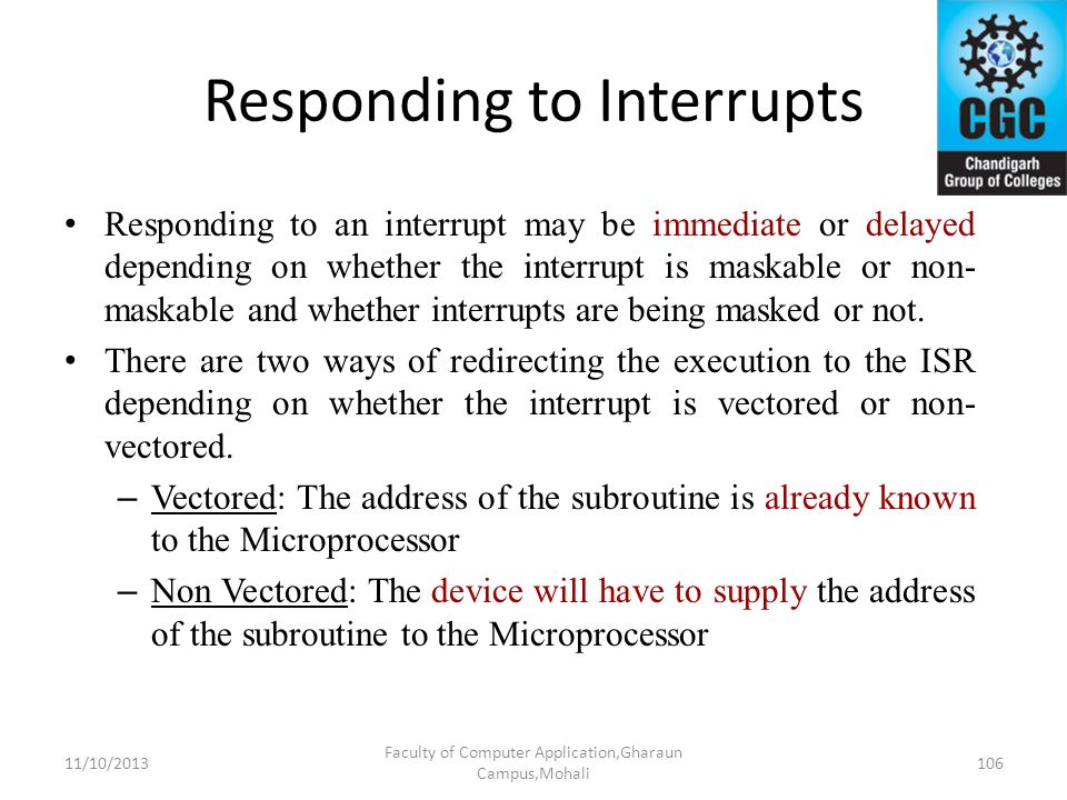 Responding to Interrupts