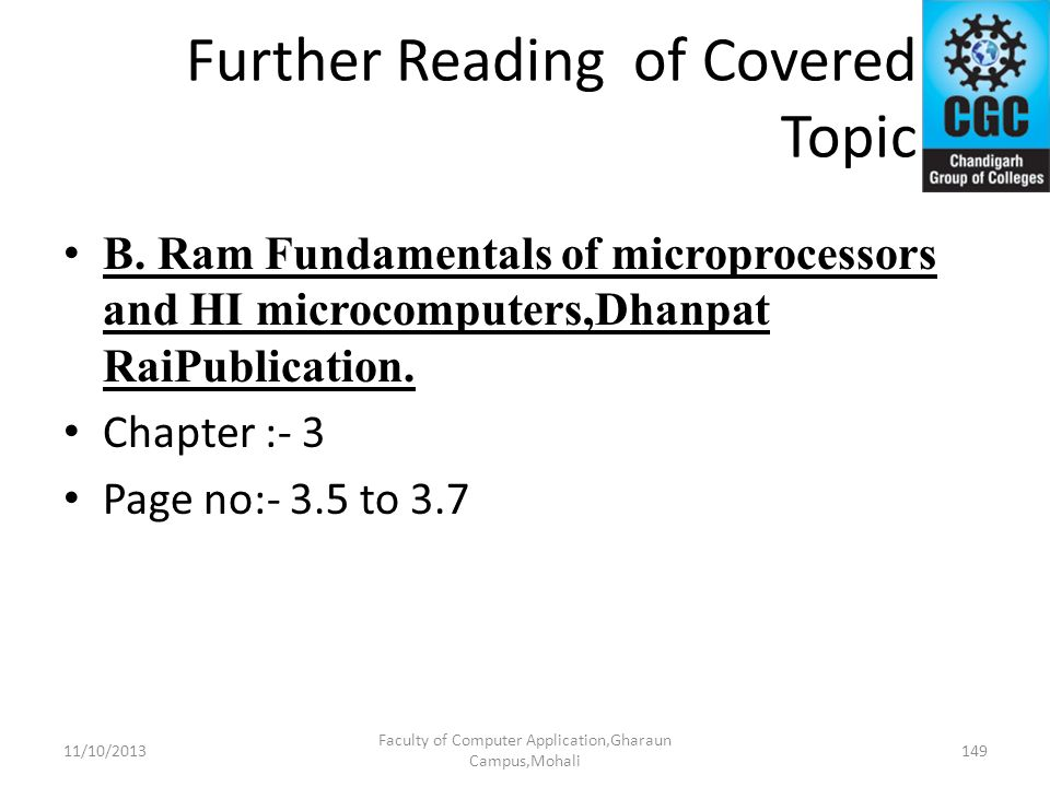 Further Reading of Covered Topic