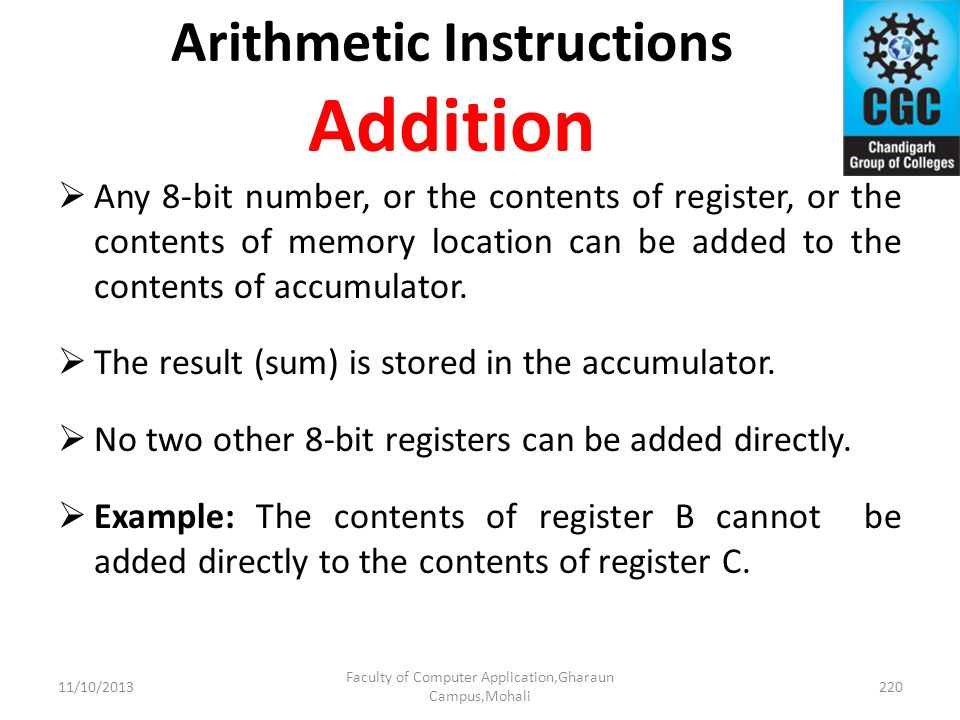 Arithmetic Instructions Addition
