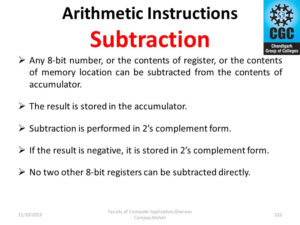 Arithmetic Instructions Subtraction