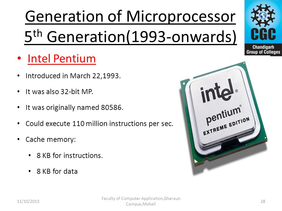 Generation of Microprocessor 5th Generation(1993-onwards)