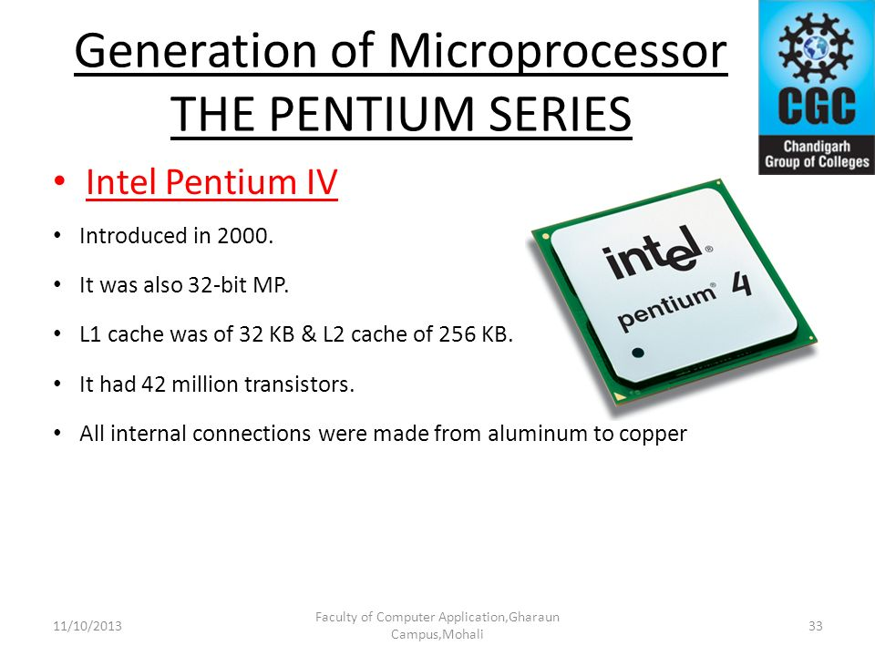 Generation of Microprocessor THE PENTIUM SERIES