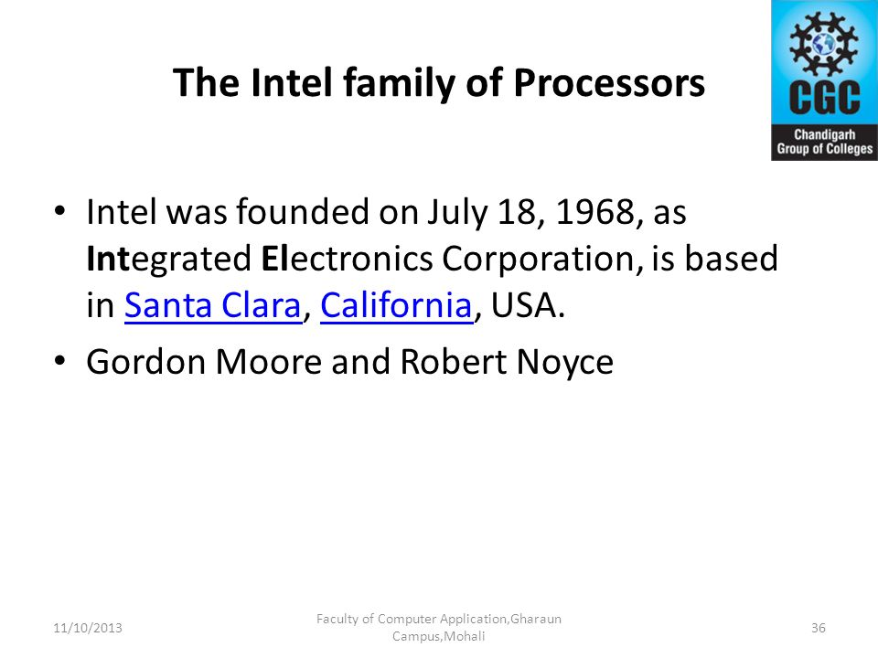 The Intel family of Processors