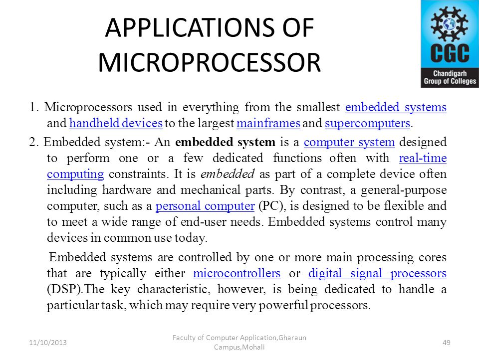 APPLICATIONS OF MICROPROCESSOR