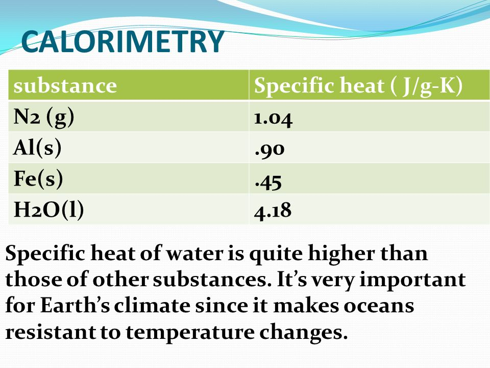 CALORIMETRY substance Specific heat ( J/g-K) N2 (g) 1.04 Al(s) .90