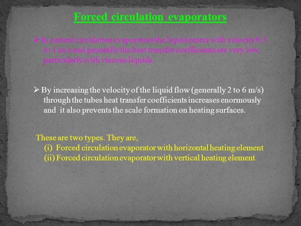 Forced circulation evaporators