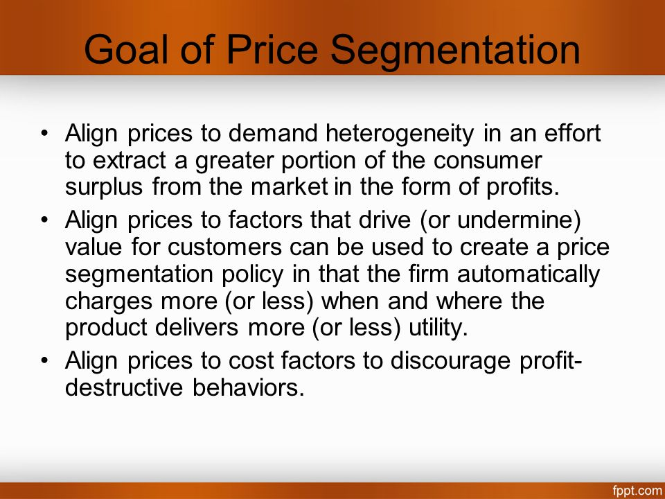 Goal of Price Segmentation