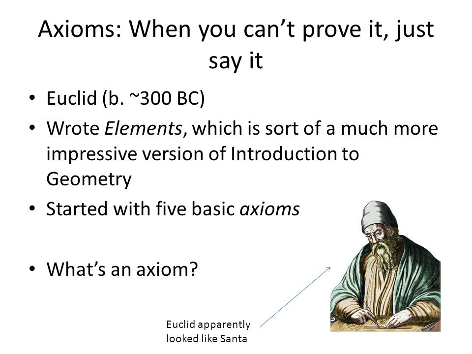 Axioms: When you can't prove it, just say it