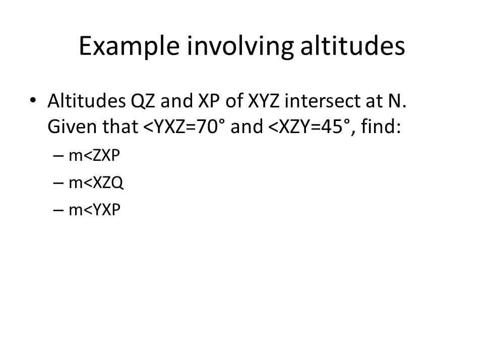 Example involving altitudes